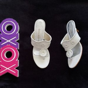 JACK ROGERS white kitten heeled sandals